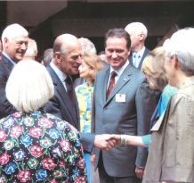 Prince Philip meets Jo Matthews at Shakespeare's Globe